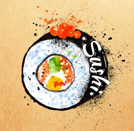 Sushi poster watercolor hand drawn with stains