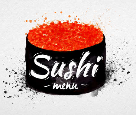 Sushi menu poster watercolor hand drawn with stains