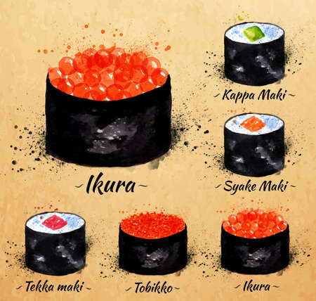 tekka: Sushi watercolor set hand drawn with stains and smudges maki, kappa maki, syake maki, ikyra, tobikko, tekka maki in kraft