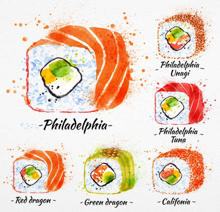 Sushi watercolor set hand drawn with stains and smudges rolls, philadelphia, red dragon, green dragon, califonia, philadelphia tuna, philadelphia unagi