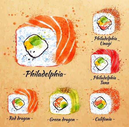 philadelphia: Sushi watercolor set hand drawn with stains and smudges rolls, philadelphia, red dragon, green dragon, califonia, philadelphia tuna, philadelphia unagi in kraft