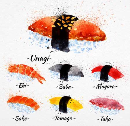 japanese sake: Acuarela Sushi mano set dibuja con manchas y manchas unagi, SABE, maguro, sake, tamago, tako Vectores