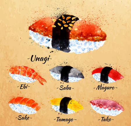 Sushi watercolor set hand drawn with stains and smudges unagi, sabe, maguro, sake, tamago, tako in kraft