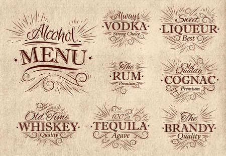 brandy glass: Set alcohol menu beverages lettering names in retro style vodka, liqueur, rum, cognac, brandy, tequila, whiskey in retro style