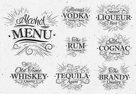 agave: Establecer nombres de letras bebidas menú de alcohol en el vodka estilo retro, licor, ron, coñac, brandy, tequila, whisky en estilo vintage