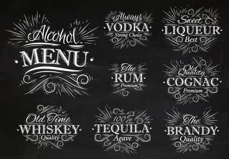 chalk drawing: Set alcohol menu beverages lettering names in retro style vodka, liqueur, rum, cognac, brandy, tequila, whiskey stylized drawing with chalk on the blackboard