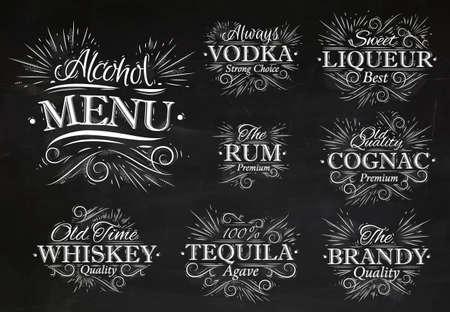 Stellen Sie Alkohol Menü Getränke Schriftzug Namen im Retro-Stil Wodka, Likör, Rum, Cognac, Brandy, Tequila, Whisky stilisierte Zeichnung mit Kreide an der Tafel