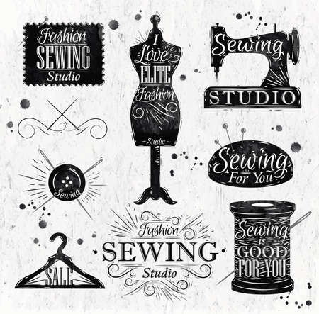 maquina de coser: Símbolo de costura en época retro maniquí letras, bobina, pasadores, perchas, botones