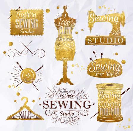 Sewing Symbol im Retro-Vintage-Schriftzug in Gold Farbe Schaufensterpuppe, Spule, Stifte, Kleiderbügel, Knöpfe