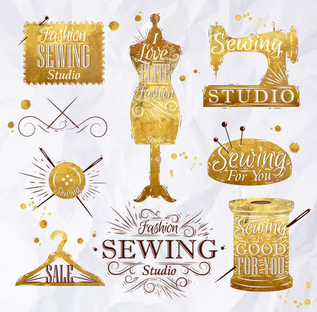 Sewing symbol in retro vintage in gold color lettering mannequin, coil, pins, hangers, buttons Illustration