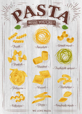 Poster set of pasta with different types of pasta fusilli, spaghetti, gomiti rigati, farfalle, rigatoni, tagliatelle spinaci fettuccine, ravioli, tortiglioni, cellentani, penne, conchiglie rigate in retro style on a wooden background. Vector