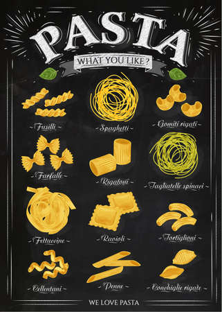 Poster set of pasta with different types of pasta fusilli, spaghetti, gomiti rigati, farfalle, rigatoni, tagliatelle spinaci fettuccine, ravioli, tortiglioni, cellentani, penne, conchiglie rigate in retro style stylized drawing with chalk. Vector