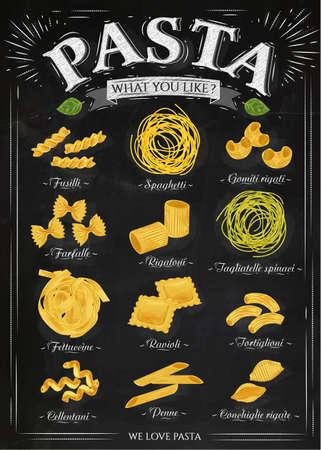Plakát sada těstoviny s různými druhy těstovin fusilli, špagety, gomiti rigati, farfalle, Rigatoni, tagliatelle spinaci fettuccine, ravioli, tortiglioni, cellentani, Penne, Conchiglie rigate v retro stylu, stylizované kreslení křídou. Vektor Ilustrace