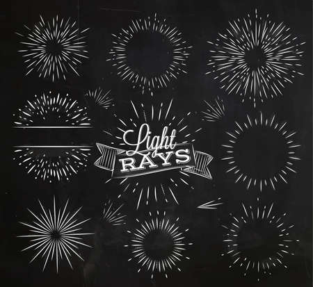 radial: Set light ray in vintage style stylized drawing with chalk