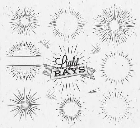 Establecer rayo de luz en el estilo vintage estilizado dibujo con carbón