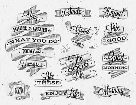 morning: Set ribbons in vintage style with lettering your future is created by what you do today not tomorrow stylized drawing with coal Illustration