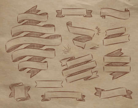 Set ribbons in vintage style stylized drawing on kraft paper Vector