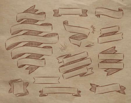 kraft: Set ribbons in vintage style stylized drawing on kraft paper