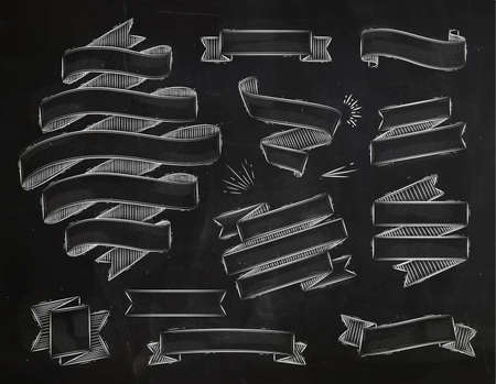 Set ribbons in vintage style stylized drawing with chalk