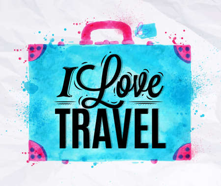 Suitcase watercolors poster hand drawn with stains and smudges I love travel