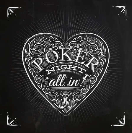 hold'em: Sign chirwa in vintage style lettering poker night all in drawing with chalk on the blackboard