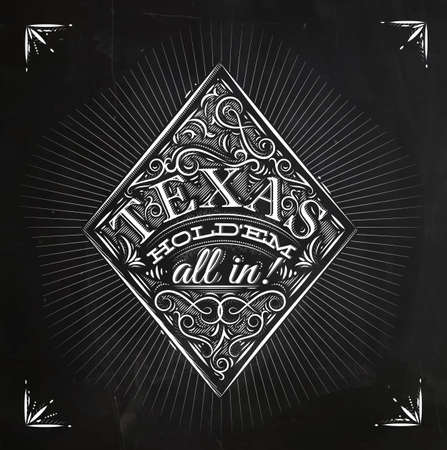 Sign diamonds in vintage style lettering texas holdem all in drawing with chalk on the blackboard Ilustração