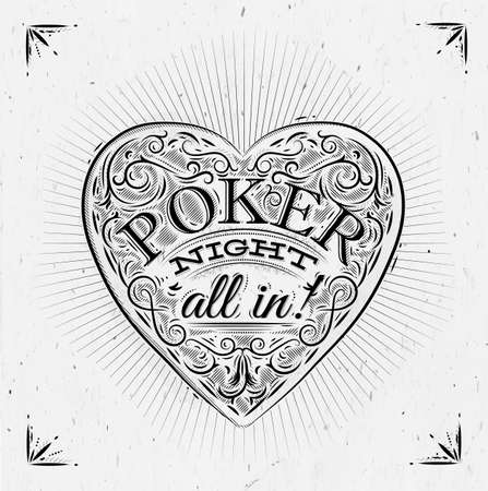 texas hold'em: Sign chirwa in vintage style lettering poker night all in Illustration