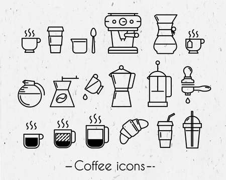 execution: Coffee icons execution lines in minimalistic style symbol Illustration