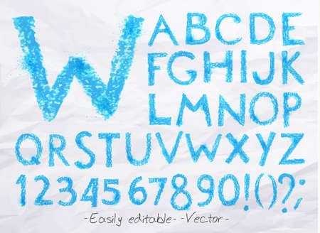 Alphabet set drawn pastel blots a spray blue color. Easily editable. Vector