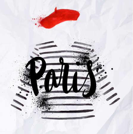 Paris poster with a red beret and striped sweater painted in watercolor on crumpled paper