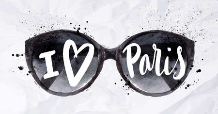 Paris poster with black sun, sun goggles with an inscription I love paris painted in watercolor on crumpled paper
