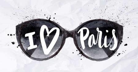 Cartel de París con negro sol, gafas de sol con una inscripción I love paris pintado en acuarela sobre papel arrugado Vectores