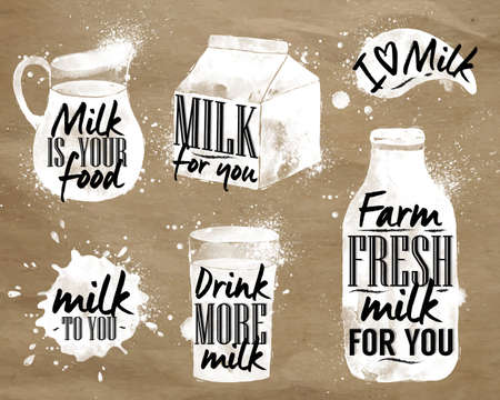 milk products: Milk symbolic drawing milk with drops and sprays lettering, milk for you, drink more milk, I love milk, farm fresh milk for you on kraft paper