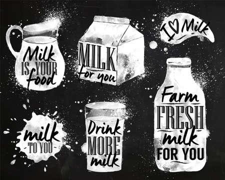 latte fresco: Latte disegno simbolico latte con gocce e spray lettering, latte per voi, bere pi� latte, mi piace il latte, azienda agricola latte fresco per voi su gesso lavagna Vettoriali