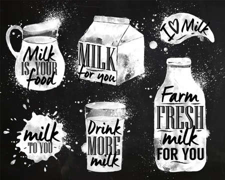milk products: Milk symbolic drawing milk with drops and sprays lettering, milk for you, drink more milk, I love milk, farm fresh milk for you on chalkboard chalk