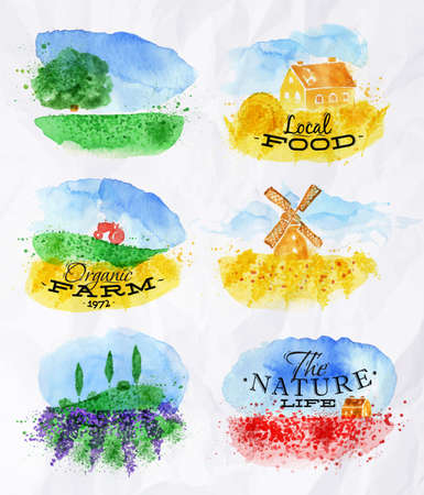 Watercolor landscapes symbols wheat fields of poppies, lavender, herbs with miniature houses mill and a tractor with lettering organic farm, local food, the nature life