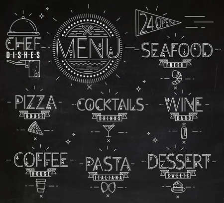 Menu in vintage modern style lines drawn with symbols pizza, pasta, seafood, wine, cocktails, coffee, chef dish, 24 open drawing with chalk