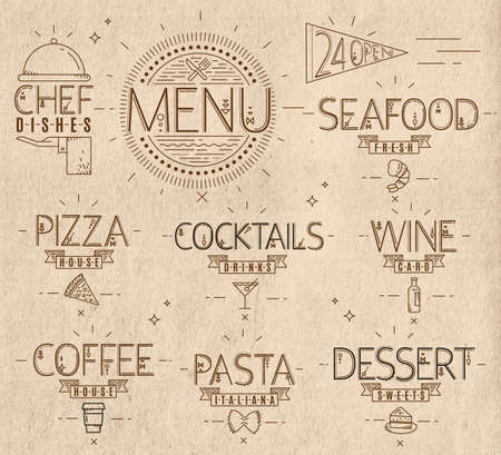 pasta dish: Menu in vintage modern style lines drawn with symbols pizza, pasta, seafood, wine, cocktails, coffee, chef dish, 24 open on the background craft