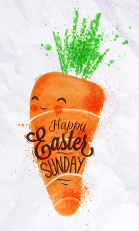 pastel colored: Happy easter carrot poster painted pastel colored stylized kids style Illustration