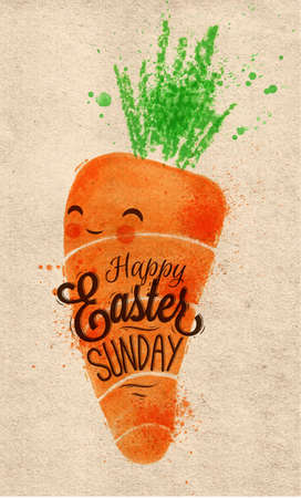 pastel colored: Happy easter carrot poster painted pastel colored stylized kids style on kraft paper