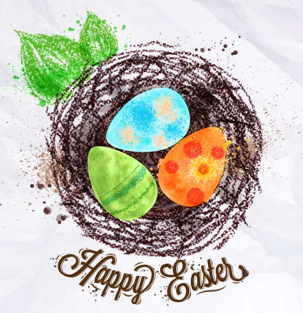 chalks: Happy easter poster nest with eggs painted in pastel colored stylized kids style Illustration