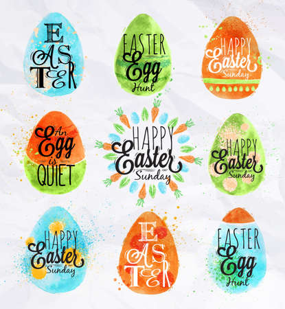 crayon drawing: Happy easter egg painted pastel colored stylized kids style egg