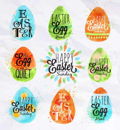 egg cartoon: Pastel pintado huevo de Pascua feliz de color estilo ni�os estilizados huevo Vectores