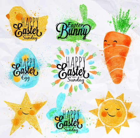 cartoon carrot: Happy easter symbols painted pastel colored stylized kids style, sun, sun, chicken, egg, rabbit, carrot, star