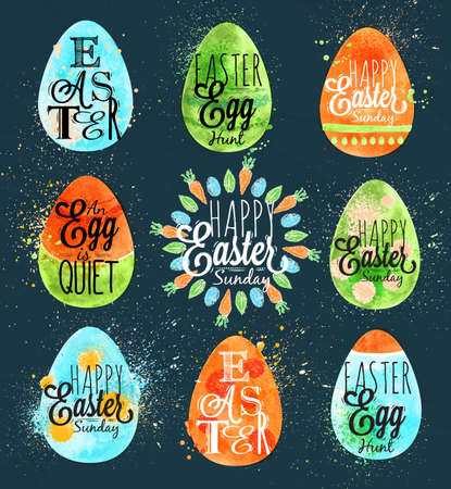 blue egg: Happy easter egg painted pastel colored stylized kids style egg on a dark blue background Illustration