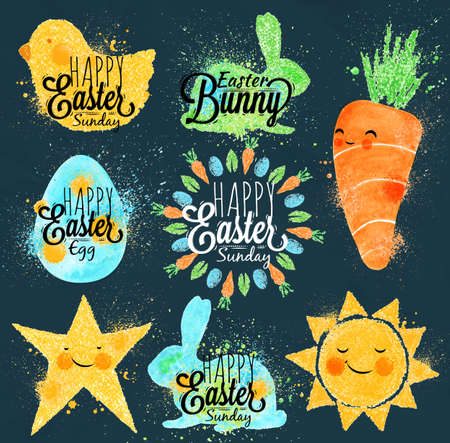 cartoon carrot: Happy easter symbols painted pastel colored stylized kids style