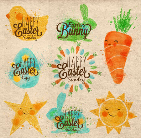 cartoon chicken: Happy easter symbols painted pastel colored stylized kids style, sun, sun, chicken, egg, rabbit, carrot, star on kraft paper Illustration