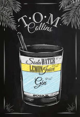 湯姆柯林斯雞尾酒復古風格程式化用粉筆在黑板上畫 向量圖像