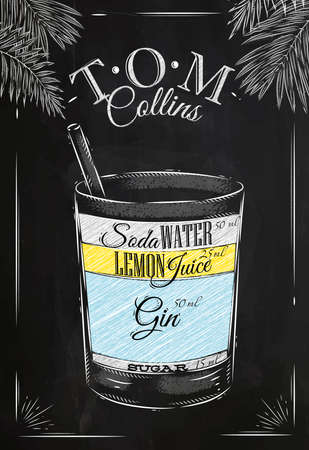 cocteles de frutas: Coctel de Tom Collins en el estilo vintage estilizado dibujo con tiza en la pizarra