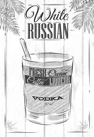 White Russian Cocktail im Vintage-Stil stilisierte auf Holzbrettern gemalt Illustration